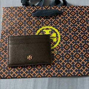 NWT Tory Burch Emerson Slim Credit Card Case Black